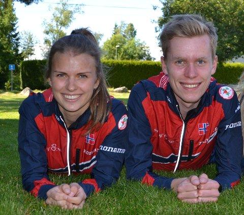 SMILTE BREDT: Herman Ryen Martinsen og Marie Olaussen hadde grunn til å smile bredt etter helgens O-NM. Foto: Terje Antonsen
