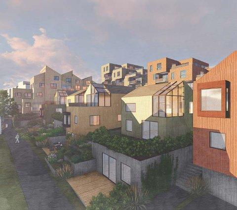 KOMBINASJON: Det planlegges for en kombinasjon av småhus og blokker på tomta som har fått navnet Gran Park. Planutvalget vil at bebyggelsen skal bli som på tegningene.