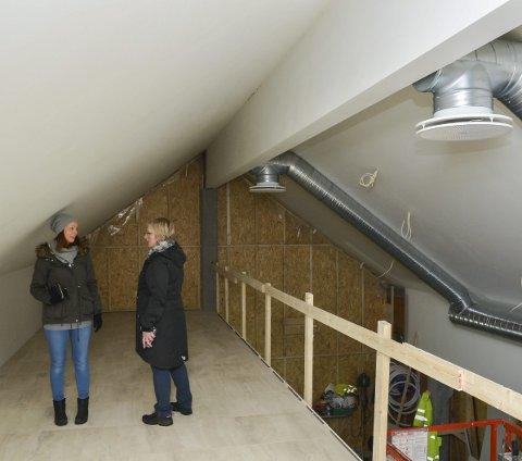 Andre etasje: Veggen i bakgrunnen skal erstattes med en glassfasade, slik at gjestene kan se utover Sørfjorden.