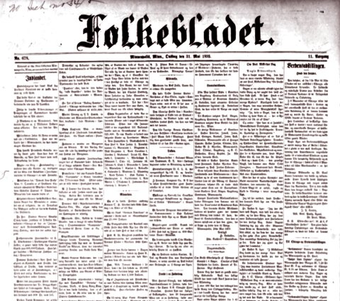 Folkebladet: Minneapolisutgava 1890.
