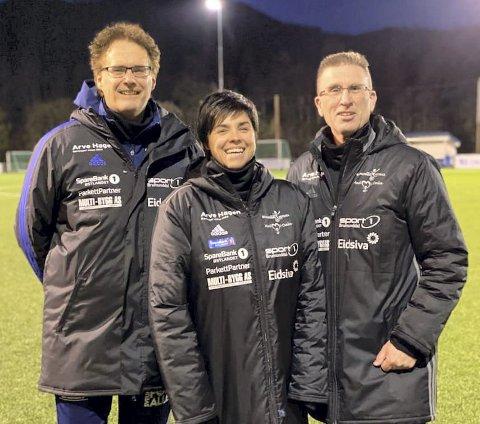 TRENERTEAM: Dette er trenerteamet for Brumunddals damelag sesongen 2021: Fra venstre: Tore Fjellstad, Guro Lesjø Lilleengen og Jo Kjetil Heggelund.