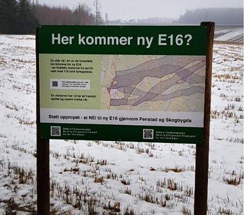 ULOVLIG: Dette skiltet kan utgjøre en trafikkfare og må fjernes, sier Viken fylkeskommune.