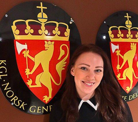 På jobb: Riksvåpenet pryder veggene på Generalkonsulatet i New York hvor Ida Martine Amlie Wahlstrøm jobber som praktikant denne våren.