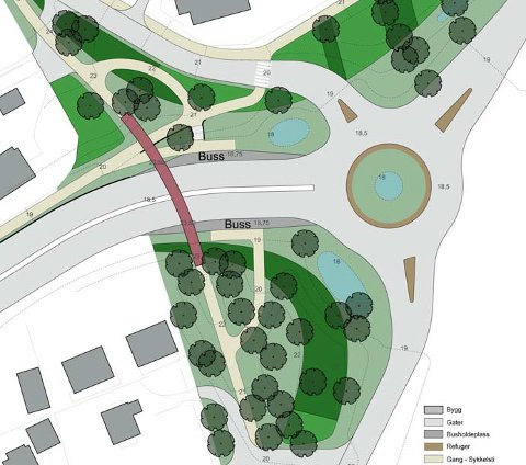 GRØNT: Slik så landskapsarkitekter i 2006 for seg at det kunne se ut rundt en gangbru og ny rundkjøring i Valløveien. Illustrasjon: Bjørbekk & Lindheim Landskap