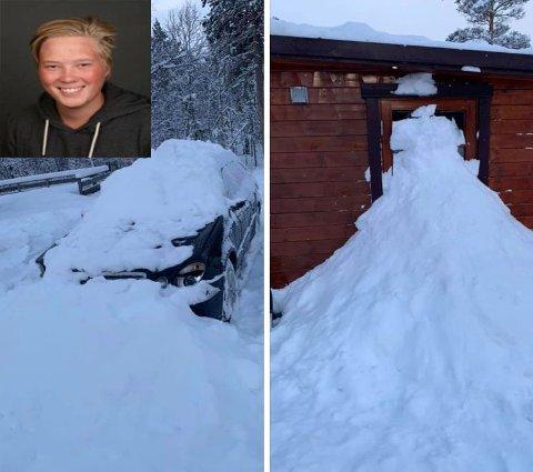 Frekt påfunn: Kristian Hetzler Hansen (20) fra Bodø våknet opp i Junkerdal til at noen hadde sperret døren til spikerteltet med snø og is. Bilen hans hadde også fått gjennomgå for nattens påfunn.