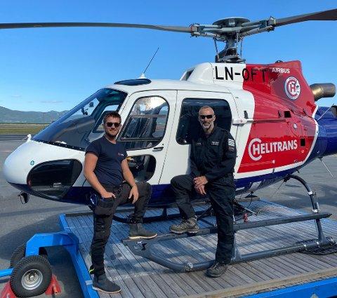SPESIELT OPPDRAG: Luc Soubeyrat (t.h.) og hans kollega Jørgen Nilsen (t.v.) fikk et spesielt oppdrag denne helgen da de måtte redde ei ku ned fra et fjell.
