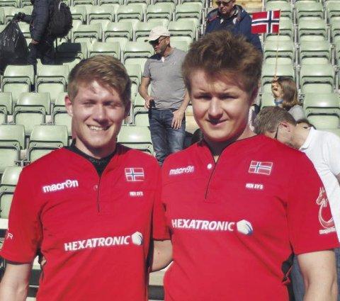 NORGE: Aleks Næss Clarke (t.v.) og Lars Thorkildsen fra Horten var gode for det norske rugbylandslaget mot Estland.