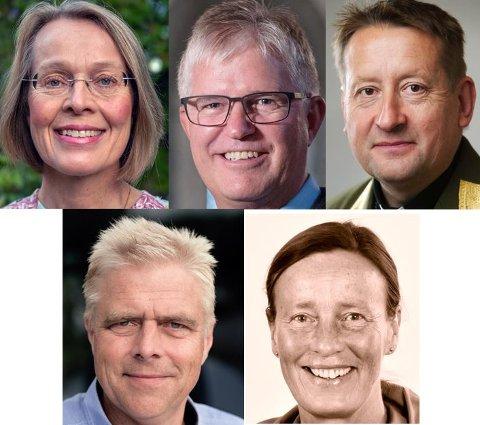 NOMINERT: Marta Botne (øverst f.v.), Helge S. Gaard, Alf Petter Bu Hagesæther, Håkon Kessel og Anne Lise Ådnøy.