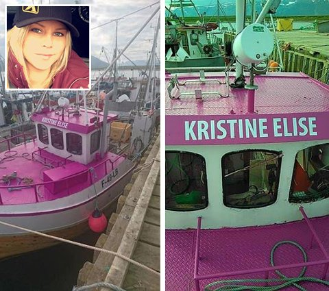 LILLA: Katrin Martinsen sier fiskebåten egentlig skulle være lilla, men er fornøyd med resultatet likevel.
