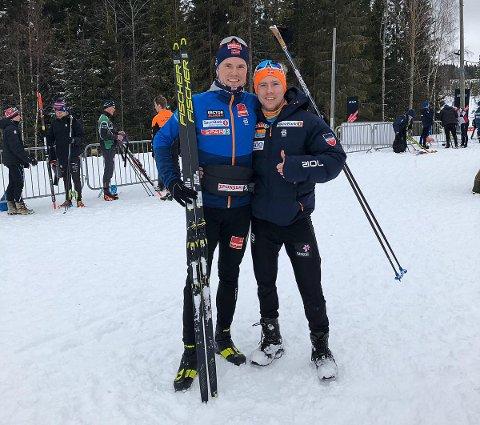 ENDELIG!: Endelig fikk lillebror Markus Stock (24) være tilstede å se Daniel Stock (27) vinne et renn.