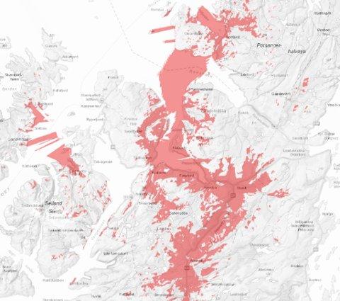 UTEN MOBILDEKING: De berørte områdene er merket med rødt.