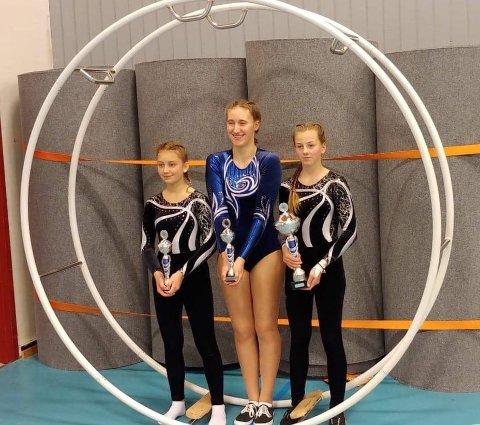 Hermine Bjørkevoll, Sanna Seldenrijk og Birgitte Seim Thorstensen gjorde sine saker bra i Gymrullen i Rygge i helga.