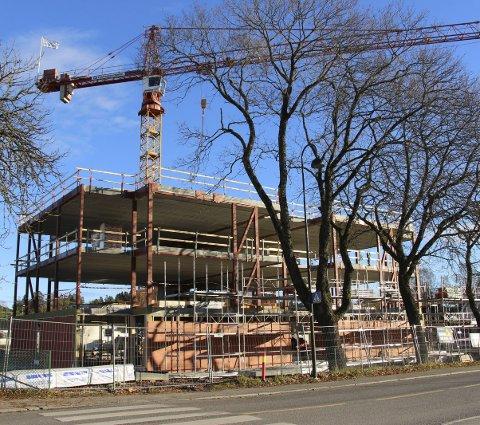 Bygger: Leilighetsbygget i Storgata 25 begynner å ta form.
