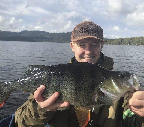 Bamse: Hermann Henriksen fra Jessheim tok denne abboren på 48 centimeter og på over 1,7 kilo under NM i abborfiske.