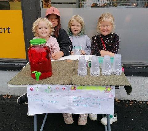 Lea Marie Tønnessen (3), Amelia Tønnessen Tveit (8), Nora Sofie Nesheim (8) og Julia Tønnessen (6).