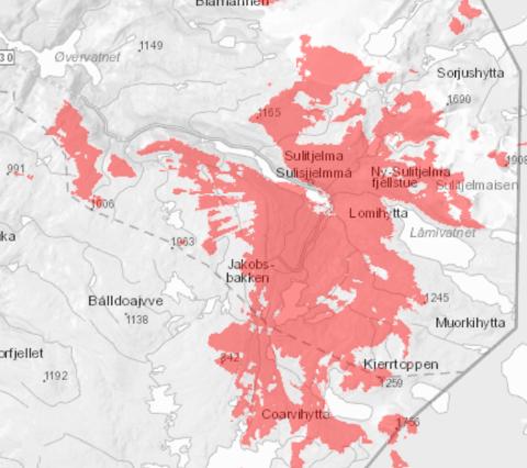 Det røde området angir der dekningen er redusert eller borte. Spesielt området rundt Jakobsbakken er berørt.