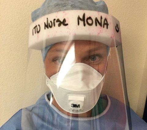 VERNEUTSTYR: Mona Jensen i fullt verneutstyr