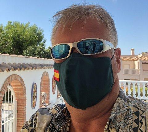 ER I SPANIA: Jon Hovland er forberedt på karantene når han kommer hjem til Norge neste torsdag. I Spania må han gå med munnbind når han beveger seg utendørs.