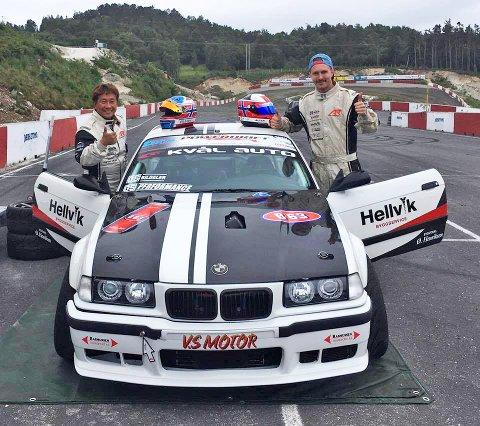 Driftelegenden Atsushi Mizunaga (t. v.) var forrige lørdag på besøk hos Allan Rasmussen på Egersund Motorsportsenter på Hellvik.