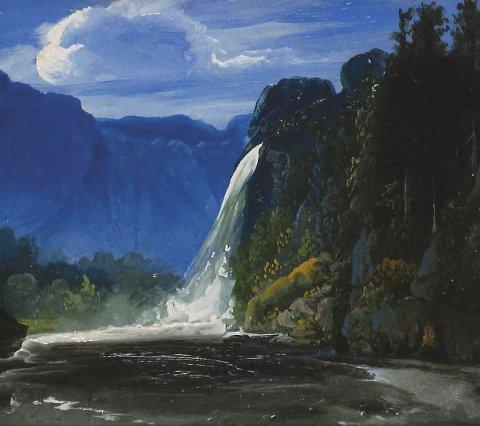 Peder Balke Fossen:  Kunstneren kjøpte blåfarge fra Blaafarveværket og er godt representert i utstillingen.