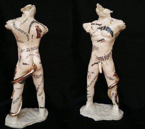 Denne skulpturen, laget av Per Egil Ramsøy, ble  stjålet fra Byhallen  onsdag.  Bildet viser skulpturen både foran og bak.