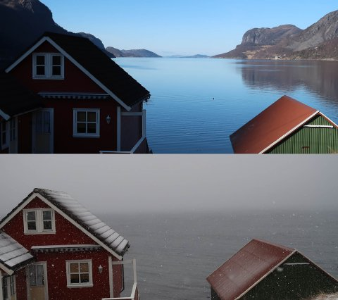 Alice Øvstebø tok disse to bildene av det som på folkemunne kalles Dirdalstraen med rundt 24 timers mellomrom.