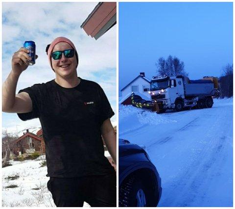 FORNØYD: Håvard Olaisen (t.v) nyter en helg på hytta, som takket være brøytesjåføren (t.h), ble litt mindre slitsom.