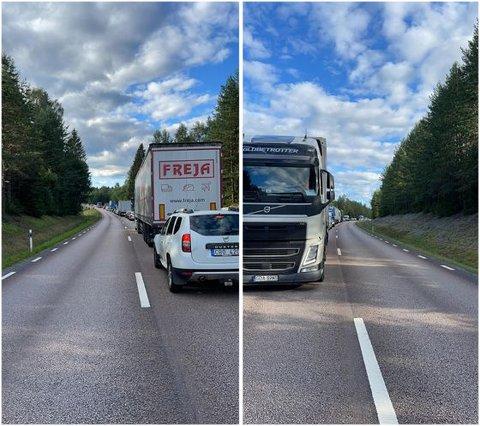 BOM STOPP: På vei inn til Norge er det nå helt stans i trafikken, forteller en RB-tipser.