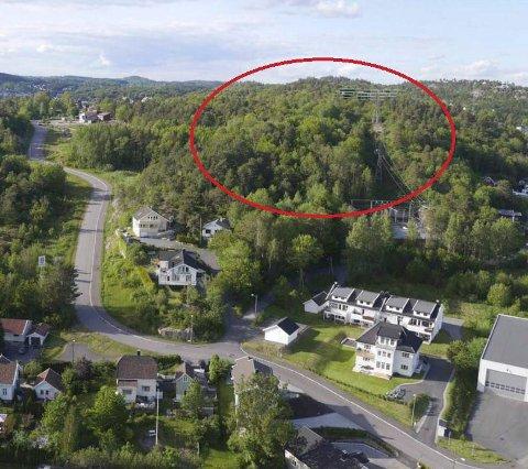 RØDSÅSEN: Det aktuelle utbyggingsområdet markert med rødt, og sett fra krysset Industriveien/Veløyveien. (Illustrasjon: Formberg Design)