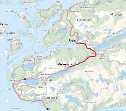 Det skal planleggast ein rassikker trasé for rv. 13 mellom Melkeråna og Årdal i Hjelmeland kommune. (Kart: Statens vegvesen)