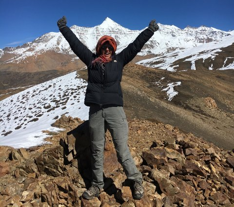 OMTRENT SOM MONT BLANC: Kari Nordheim i 4.700 meters høyde i Himalaya. Vest-Europas høyeste fjell, Mont Blanc, rager 4.809 m.o.h.
