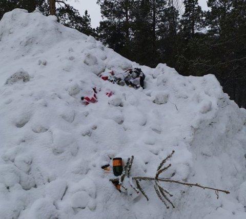 OPPGITT: Kirsten Mikkelsen Haldorsen ble både sjokkert og oppgitt når hun så søppelet ved en parkeringsplass i Eiby.
