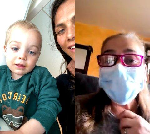HOLDER KONTAKTEN OVER TELEFON OG NETT: Funkygine snakker jevnlig med familie og venner som bor i Italia. Her viser tanten hennes sønnen Milano hvordan det ser ut når hun går med munnbind.