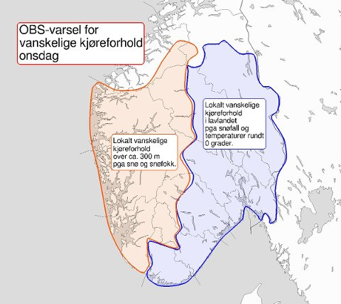 Det er tirsdag kveld sendt ut OBS-varsel for hele Østlandet.