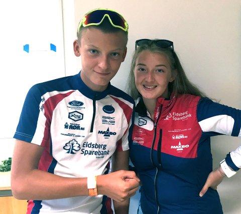 VAR SAMMEN: Peder Aabogen Haugaard var mellomfornøyd over løpene sine i Hovedløpet, mens storesøster Ida var med som trener/leder. FOTO: PRIVAT