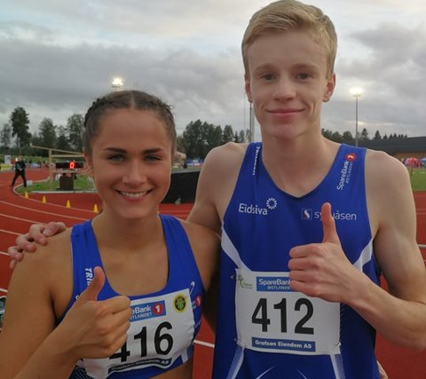 Best i Norge: Sigrid Kongssund Amlie og Håvard Bentdal Ingvaldsen viser at Moelven er den beste klubben i Norge på 400 meter for 17-åringer. De tok begge gull.