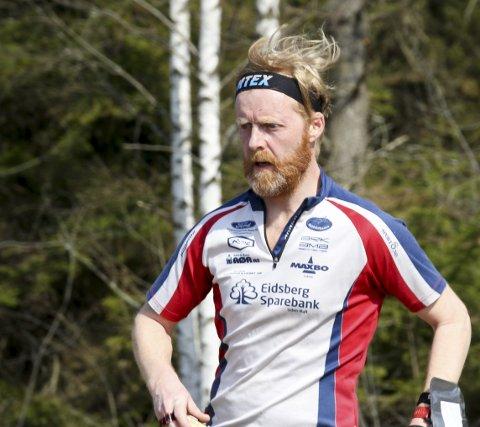 I GANG: Hoblingen Thomas Bedin fra Indre Østold O-klubb er i gang med sesongen.