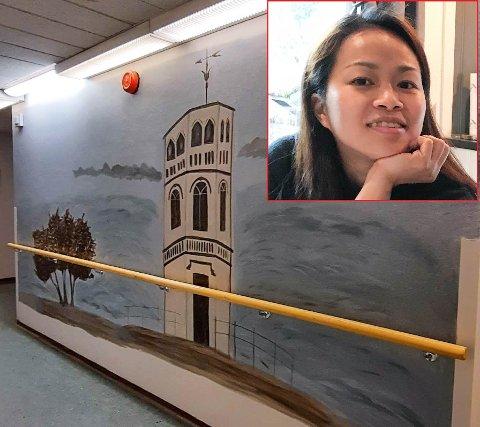 Quyen Pham Nergaard syntes korridorene på sykehjemmet kunne trenge litt farge.