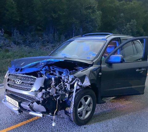 KOLLISJON: Slik ser bilen ut etter kollisjonen med en hjort. William Hirst, som kjørte bilen, slapp unna uten skader, bortsett fra et lite svimerke på armen etter at airbagene utløste.