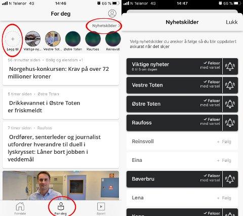 DETTE GJØR DU: Etter å ha åpnet appen, trykker du på «For deg» på linja i bunn. Deretter kan du enten klikke på sirkelen med «Legg til», eller «Nyhetskilder» øverst i høyre hjørne. Da kommer du deg videre i vinduet som vises til høyre. Derfra velger du hvilke emner du vil følge og om du vil bli varslet med lyd.