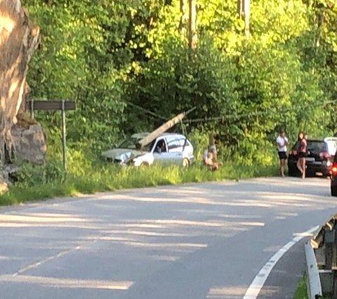 KJØRTE UT: Bilen kjørte ut omtrent 100 meter etter utkjøringa fra Lagveien, da i retning Risør. Foto: Olav Loftesnes