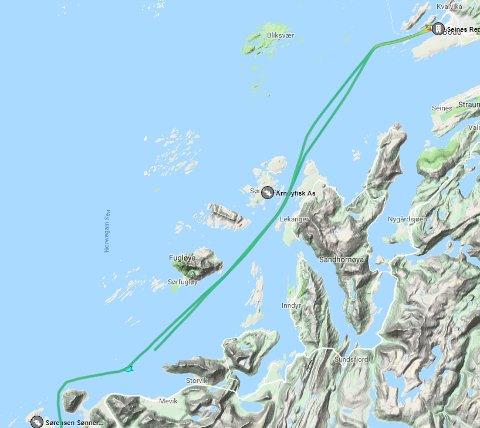 Marine Traffic viser kongeskipets rute fra Vega og nordover til Bodø. Fredag i 10-tiden nærmet skipet seg Meløy.