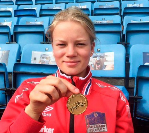 GULL: Karoline Jæger er Norges beste trestegutøver i sin aldersklasse.