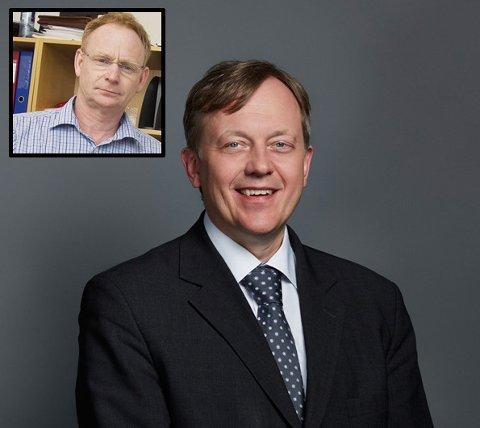 VIRKEMIDDEL: Advokat Nicolay Skarning hos Kvale Advoktafirma tror rådmann Roar Vevelstad (innfelt) brukte sluttpakke som et virkemiddel for å avslutte arbeidsforholdet til kommunalsjef Else-Grethe Mathisen raskt.