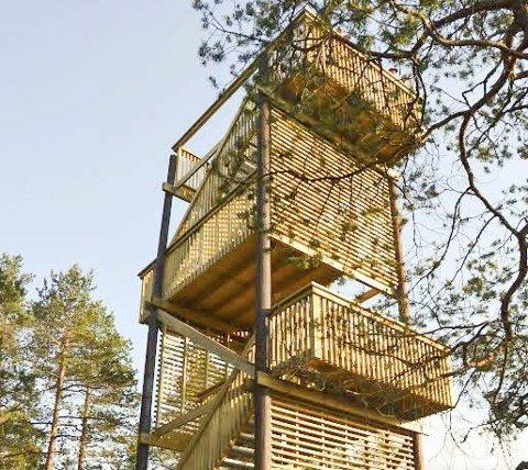 STASELIG TÅRN: På klare dager kan man se helt til Gaustadtoppen fra det nye tårnet på Minjarudkollen. Foto: Lene Barkenæs Svea