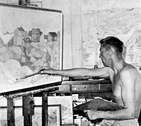 Rino Harveg i arbeid. Bildet ble tatt i 1975.