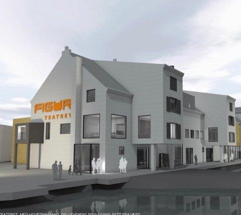 TEATERBYGG: Nordland fylkeskommune skal forhandle om finansiering av nytt teaterbygg i Stamsund med Kulturdepartementet  og Vestvågøy kommune. Skisse: Stein Hamre arkitektkontor.