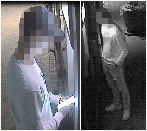 PENGEUTTAK: Kort tid etter ranet gikk politiet ut med disse bildene som skal vise den ene gjerningsmannen idet vedkommende tar ut penger med ransofferets bankkort.