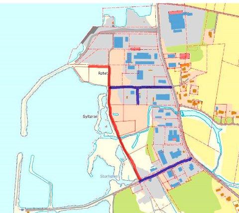 Sjømålvegen (markert i rødt) er tenkt som en hovedvei i næringsområdet parallelt med Industrivegen, både som adkomst til tomtene som allerede er solgt på østsiden av vegen - og for tilgang til framtidige tomter på sjøsida i tilknytning til havneområdet.