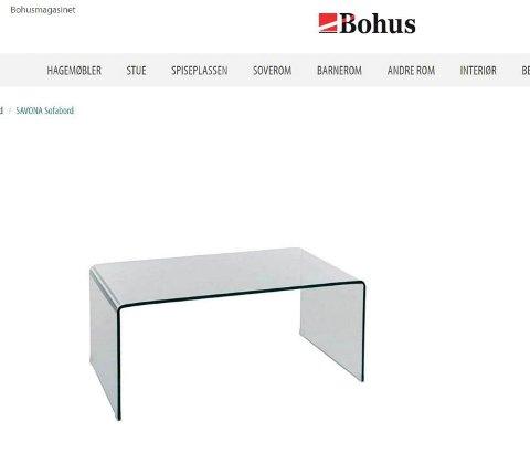 SAVONA SOFABORD: Den gamle eieren av bordet kjøpte det på Bohus. I dag selger møbelkjeden samme type sofabord i en oppgradert versjon. (Foto: Faksimile: Bohus.no.)